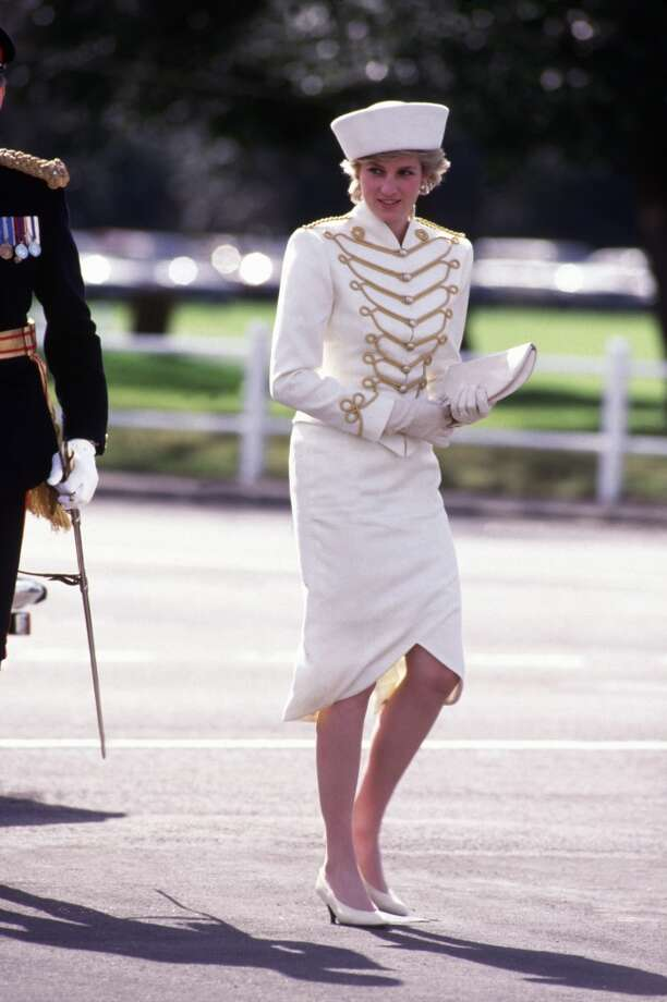 Diana Princess of Wales takes the salute at the Sovereigns Parade at the Royal Military Academy on April 10, 1987 in Sandhurst, Berkshire, England.The Princess wore a military style outfit designed by Catherine Walker, with a hat designed by Graham Smith at Kangol. Photo: David Levenson, Getty Images