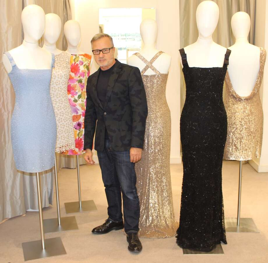 "Designer Jacques Azagury with his recreations and ""Dianesque"" styled gowns for the film ""Diana."" Photo: Jacques Azagury"