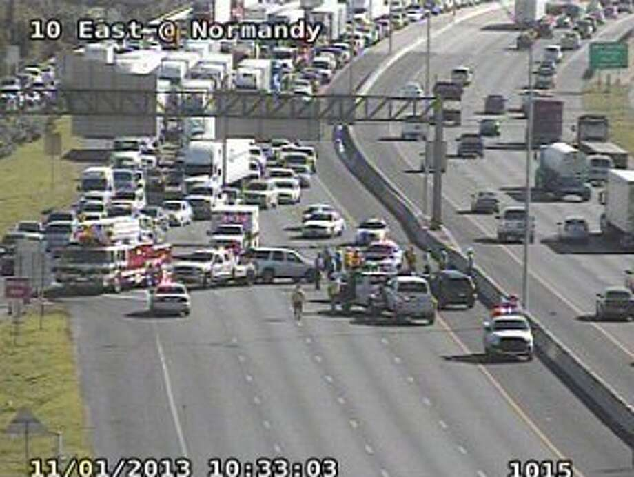 A six-car wreck has closed I-10 east of downtown.