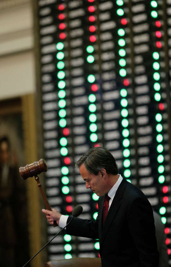 Speaker of the House Joe Straus, R-San Antonio, strikes the gavel after a provisional vote on HB 2, an abortion bill approving tough new abortion restrictions, passed Tuesday, July 9, 2013, in Austin, Texas. A final, formal vote is scheduled for Wednesday. The bill  would require doctors to have admitting privileges at nearby hospitals, only allow abortions in surgical centers, dictate when abortion pills are taken and ban abortions after 20 weeks. (AP Photo/Eric Gay) Photo: Eric Gay, AP / AP