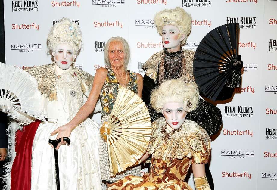 Yep, that's Heidi Klum in the center, dressed as an old lady at her 2013 Heidi Klum's Halloween Party in New York City. Photo: Cindy Ord