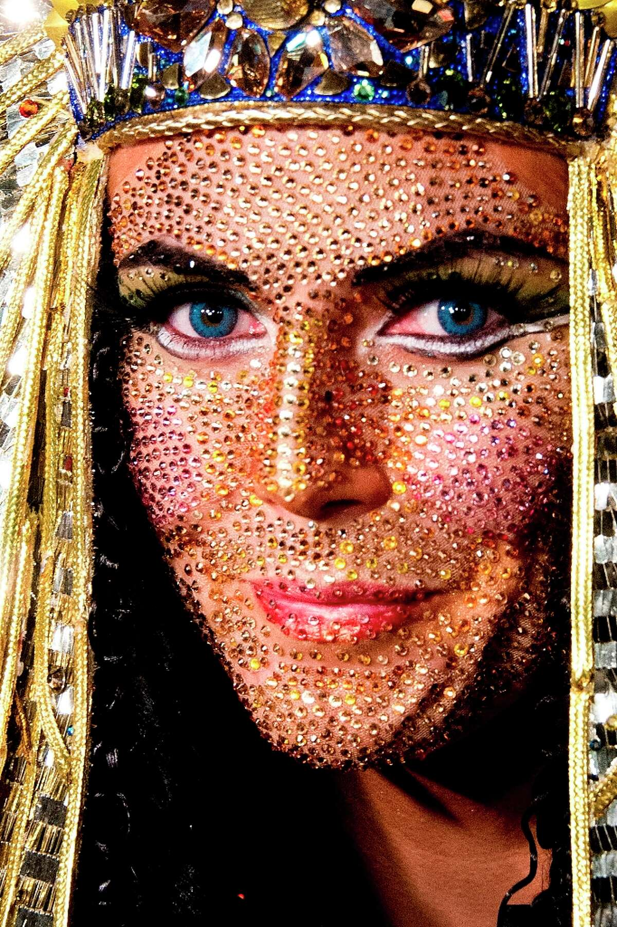 Heidi Klum shows off her jewel-encrusted face and Cleopatra costume during her Haunted Holiday Party benefiting Superstorm Sandy relief efforts, on Saturday, Dec. 1, 2012 in New York. Klum's original party, scheduled to be held on Halloween, was postponed due to the storm.