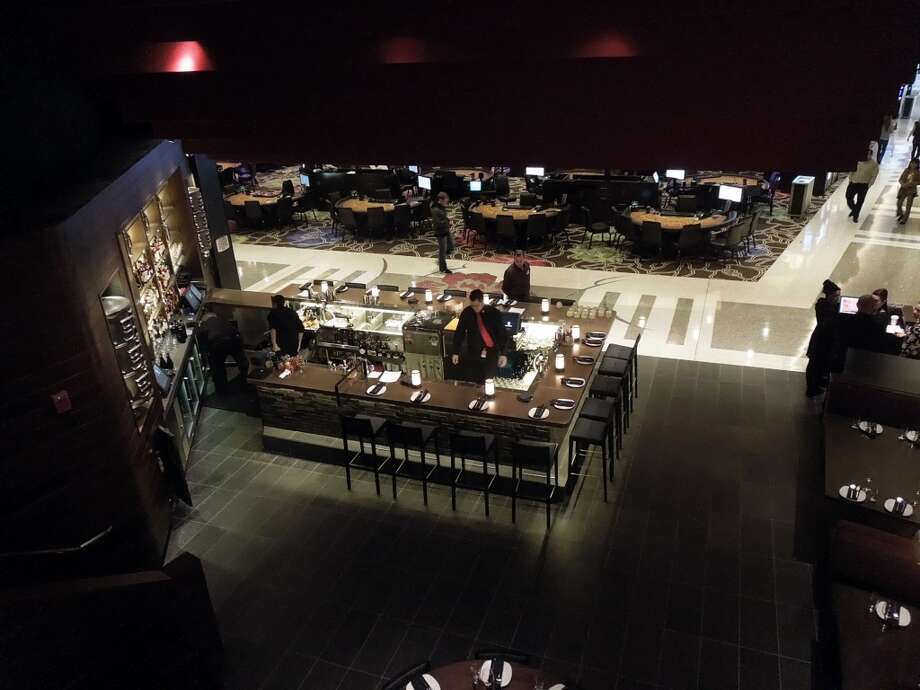 View from the mezzanine over the bar and dining room