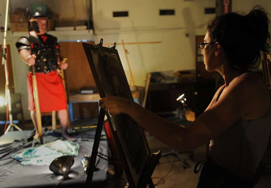 Abigail Mclaurin sketches in a life drawing session at the Art Studio Photo taken Wednesday, August 22, 2012 Guiseppe Barranco/The Enterprise Photo: Guiseppe Barranco/The Enterprise