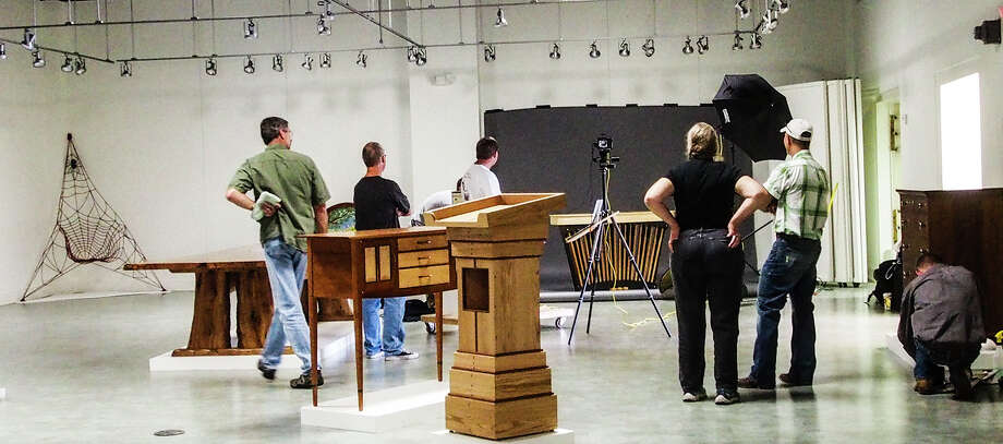Furniture makers install their work in the Kerr Arts & Cultural Center. OLYMPUS DIGITAL CAMERA Photo: LisleDrake / ONLINE_YES