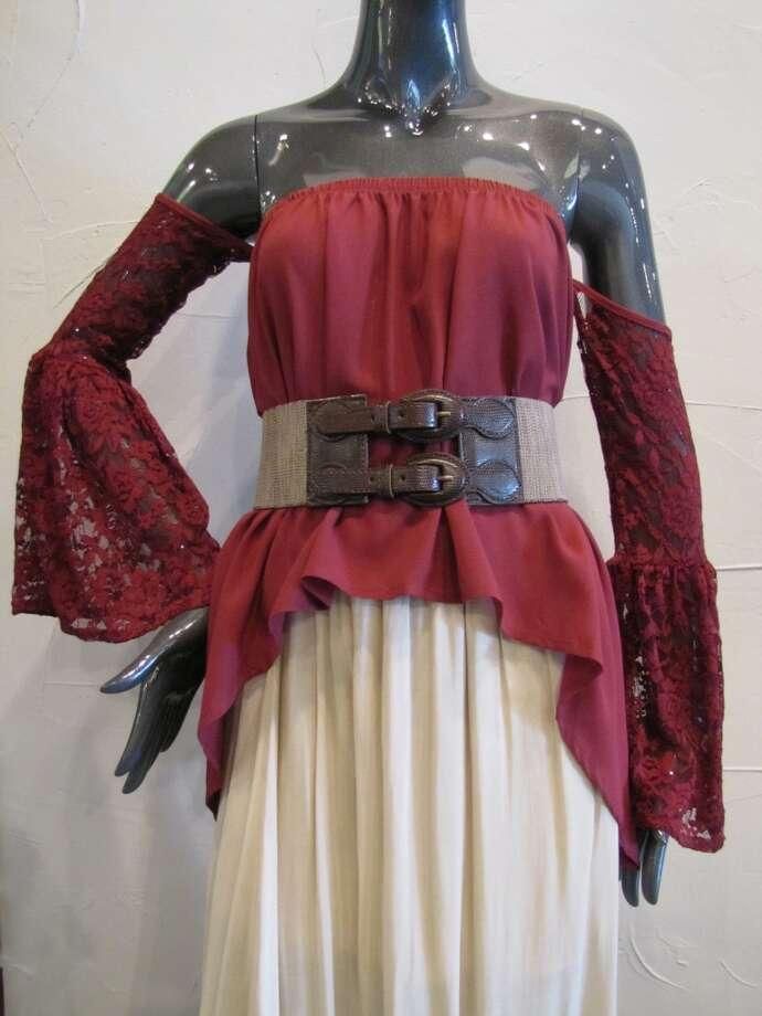 Lace off-the-shoulder top, $24.99. Maxi skirt, $33.50. Double-buckle belt, $31.75. The Purple Door, Beaumont Photo: Cat5