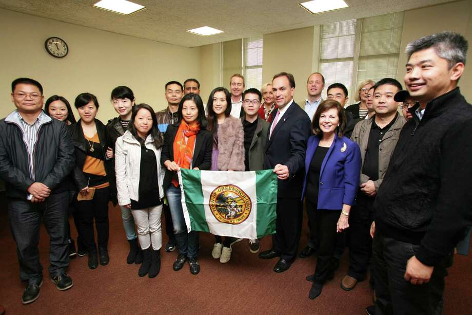 Sixteen Chinese journalists visited Greenwich Town Hall to get a better idea of Greenwich as a financial center, commuting base to NYC, and a residential center Friday, Nov. 1, 2013. Photo: David Ames / Greenwich Time