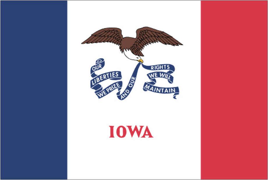Iowa flag Photo: Globe Turner, LLC, Getty Images/GeoNova Maps / GeoNova Maps