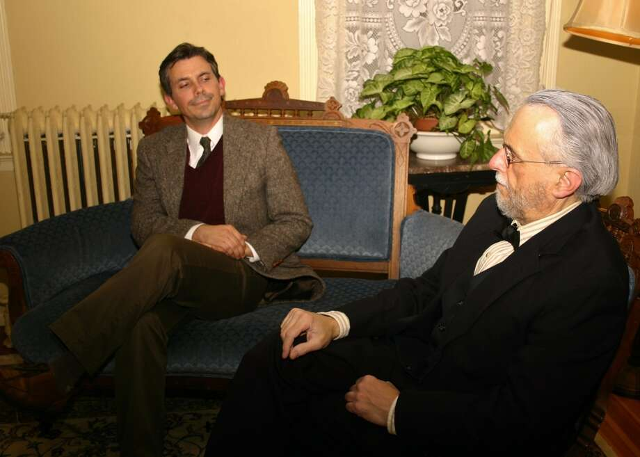 "An imagined meeting between writer C.S. Lewis (Gabriel Morrow, left) and psychoanalyst Sigmund Freud is the subject of the Mark St. Germain play ""Freud's Last Session"" at the Stratford Theatre in Stratford, Conn., from Nov. 1 to 16, 2013. Photo: Contributed Photo"