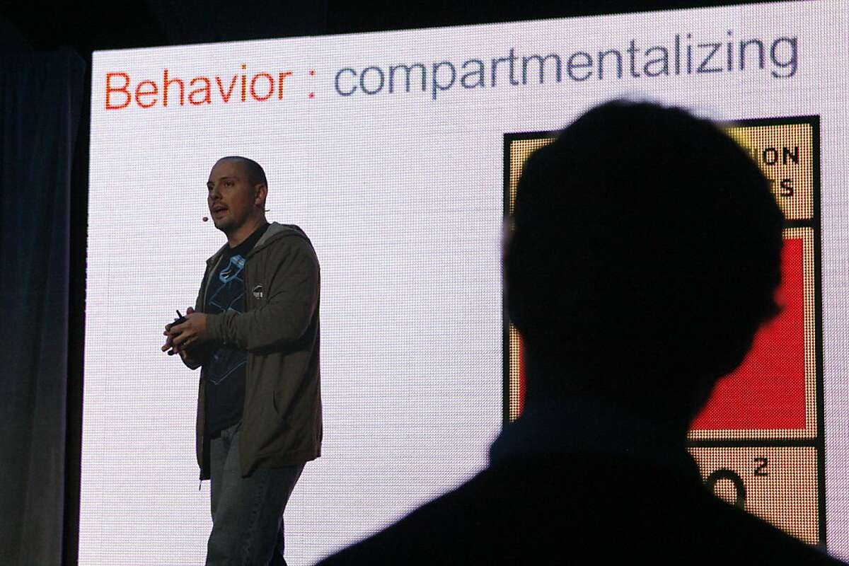 Nick Floyd talks abou behaviors and habits during his Nerd Life Balance presentation during the Future Stack conference at the Grand Hyatt in San Francisco, Calif. on Friday, Oct. 25, 2013.
