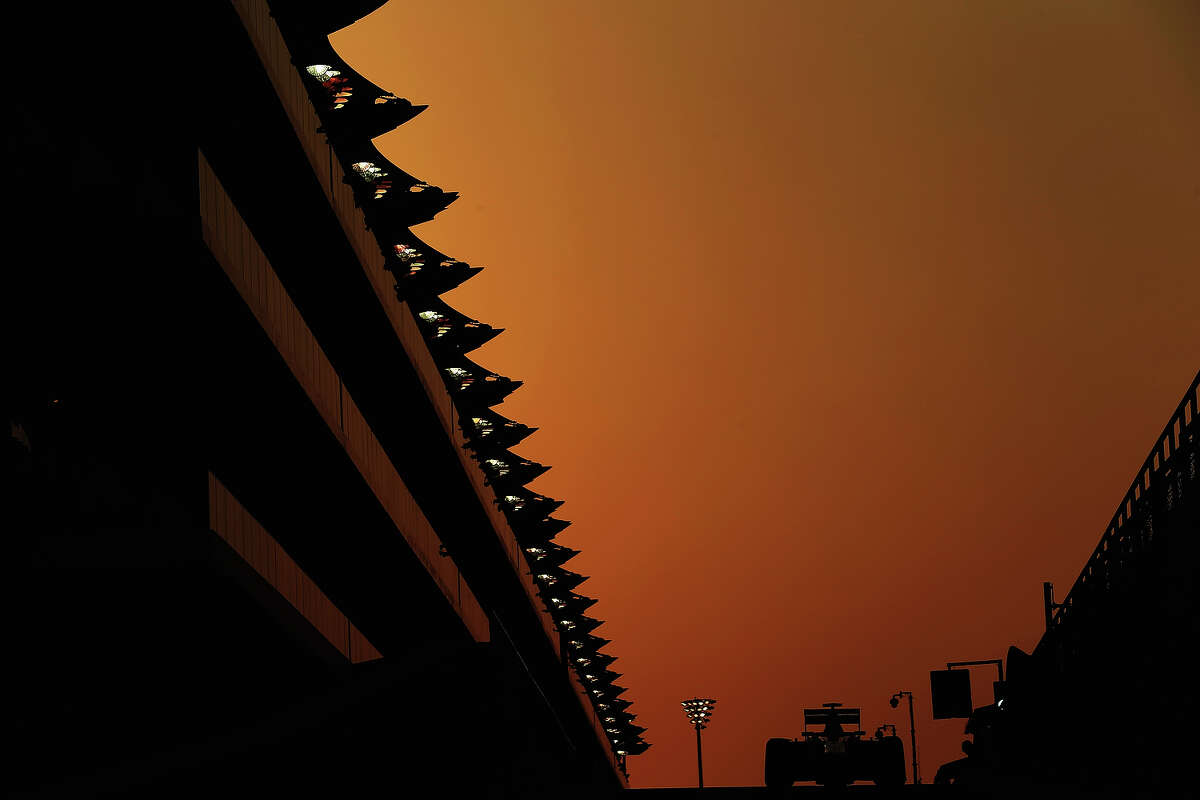 Max Chilton of Great Britain and Marussia exits the pit lane as he drives during practice for the Abu Dhabi Formula One Grand Prix at the Yas Marina Circuit on November 1, 2013 in Abu Dhabi, United Arab Emirates.