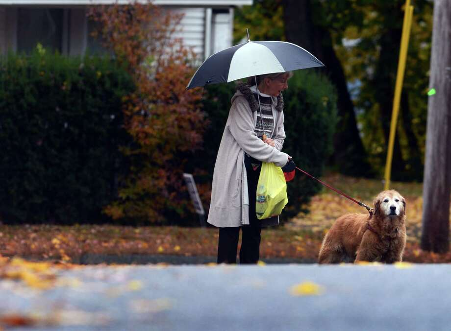 A woman walks her dog on a rainy Friday morning in Ansonia, Conn. Nov. 1, 2013. A quick moving cold front brought strong winds and some rain to southwestern Connecticut late Friday morning, with gusts to nearly 30 mph, but the sky brightened by mid-afternoon. Photo: Autumn Driscoll / Connecticut Post