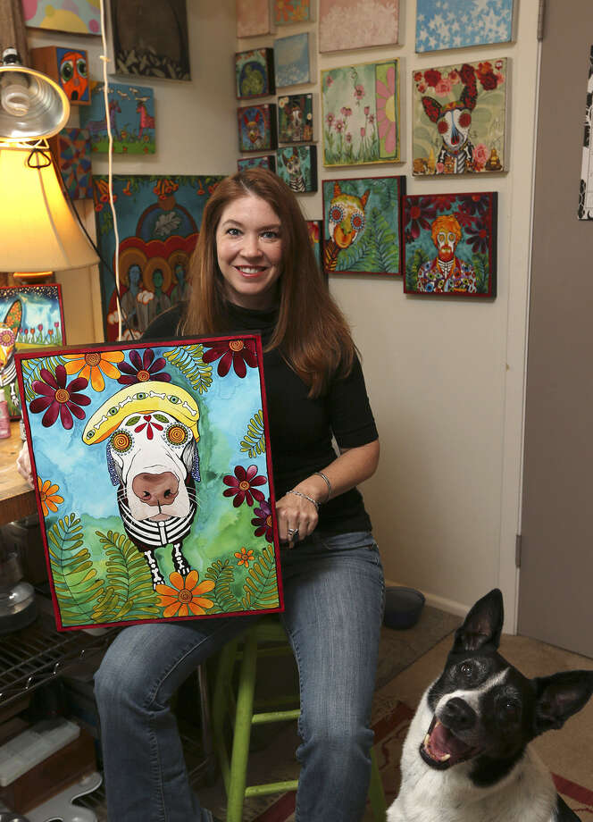 Artist Robin Arthur works out of her home studio in Alamo Heights. Photo: Jerry Lara / San Antonio Express-News