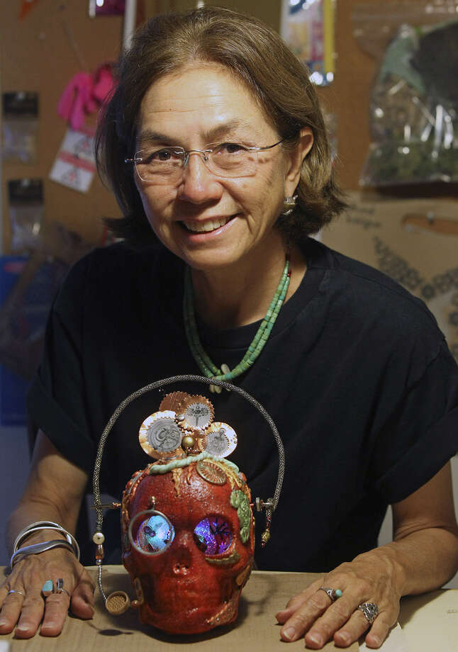 Heyhoe's art is inspired by memories of her mom's gift-wrapping skills. Photo: Tom Reel / San Antonio Express-News