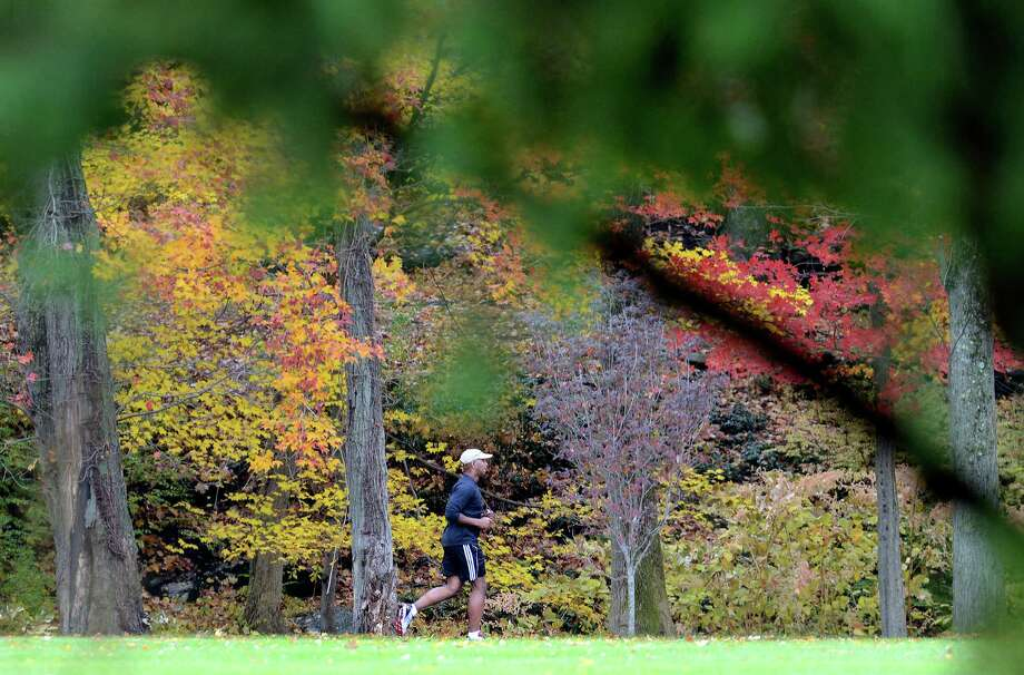 A man jogs through Twin Brooks Park in Trumbull, Conn. after the weather cleared up on Friday, Nov. 1, 2013.  A quick moving cold front brought strong winds and some rain to southwestern Connecticut late Friday morning, with gusts to nearly 30 mph, but the sky brightened by mid-afternoon. Photo: Autumn Driscoll / Connecticut Post