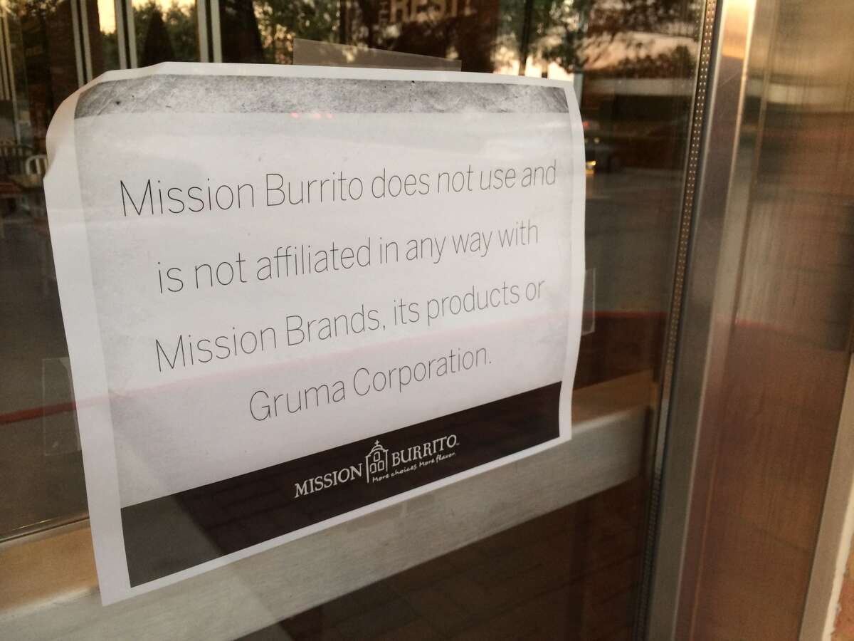 A sign posted in the window of the Mission Burritos in Sugar Land, Oct. 31, 2013.
