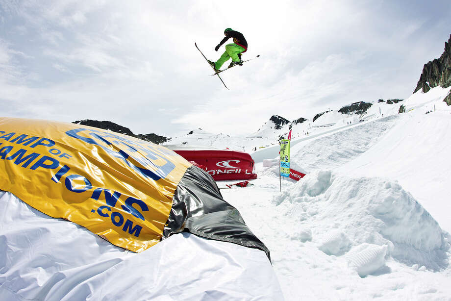 Bag JumpThis is basically a giant air bag at the bottom of a jump so skiers and snowboarders can practice their jumps without getting hurt. If you stick the landing, that's awesome; if you don't, well at least you are still in one piece. Photo by: The Camp of Champions/Flickr
