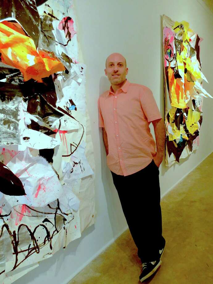 "Howard Sherman's large-scale mixed-media works are featured in ""Metaphysical Batman."" Photo: Molly Glentzer / ONLINE_YES"
