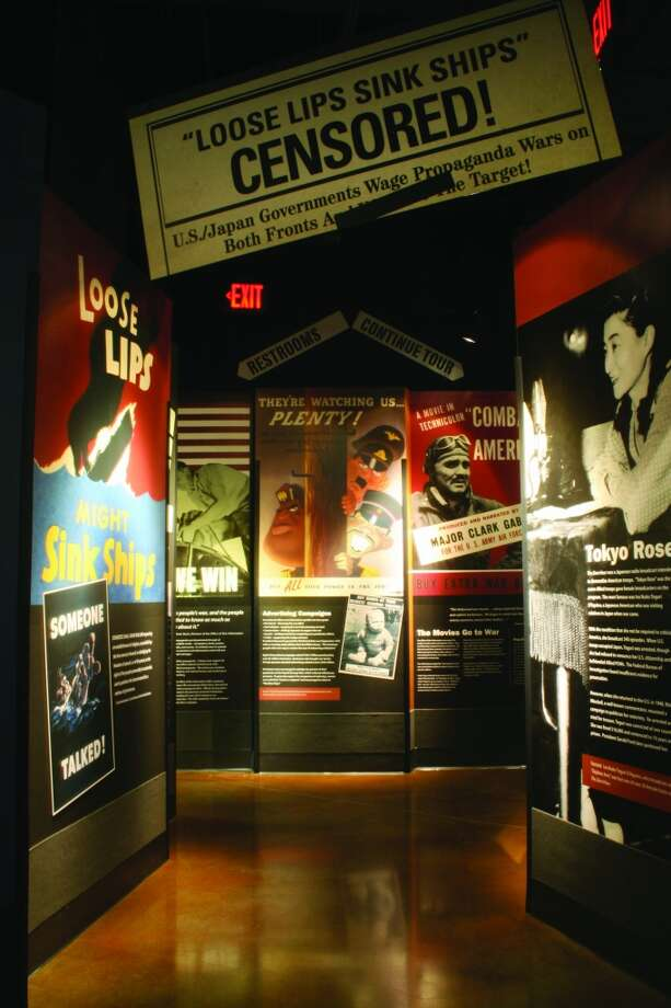 "At the National Museum of the Pacific War, a ""Loose Lips"" exhibit displays WWII propoganda from around the world."