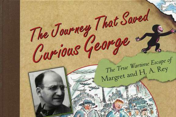 "Allan Drummond's drawing of Margret and H.A. Rey's escape from Paris, from the book ""The Journey That Saved Curious George."""