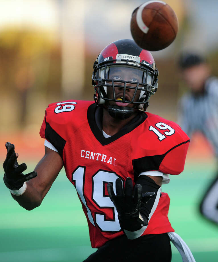 Central's Keyshawn Thomas receives a touchdown pass, during high school football action against Greenwich in Bridgeport, Conn. on Friday November 1, 2013. Photo: Christian Abraham / Connecticut Post