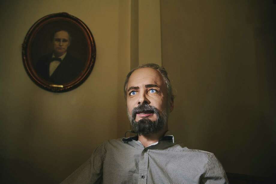 Phillip K. Dick, created by Hanson Robotics, was built to demonstrate the potential of facial tracking software. Photo: Photos By David Walter Banks / New York Times