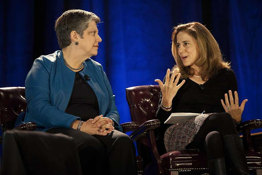University of California President Janet Napolitano (left) and California first lady Anne Gust Brown speak of the rewards of taking on new challenges during a Silicon Valley Leadership Group event. Photo: Liz Hafalia, The Chronicle