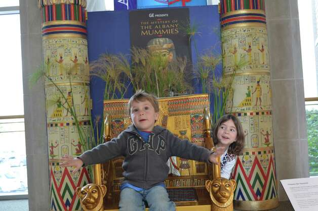 Youngsters attend Family Day at the Albany Institute of History and Art, which gave children a glimpse of ancient Egyptian life and a taste of royalty on the throne. For more, see Bethlehem resident Adrienne Veglia Mazeau?s blog, http://wanderingworkingmom.com/.  (Submitted photo)