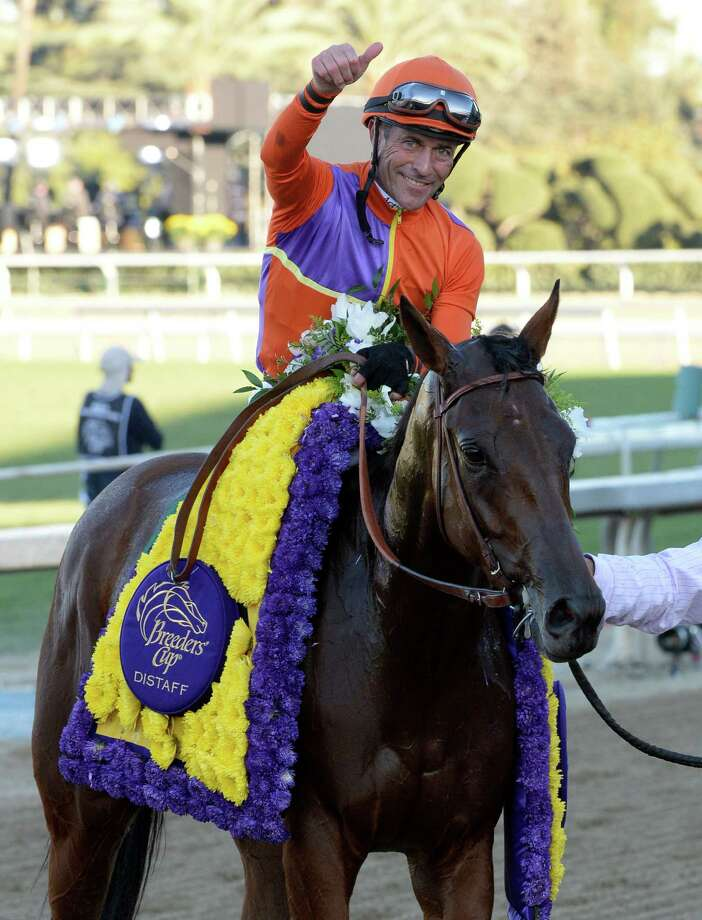 Beholder with jockey Gary Stevens aboard draws away from the field to win the Breeders' Cup Distaff Nov. 1, 2013 at Santa Anita Park in Arcadia, California.   (Skip Dickstein/Times Union Photo: SKIP DICKSTEIN