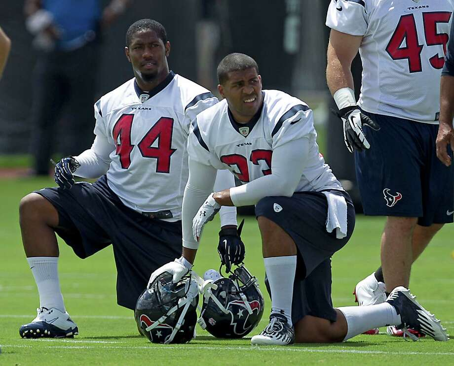 The Texans are relieved Ben Tate, left, will be healthy enough to play in Sunday's showdown with the Colts. Now they await the fate of their other key running back, Arian Foster, who's nursing a hamstring injury. Photo: James Nielsen, Staff / © 2013  Houston Chronicle