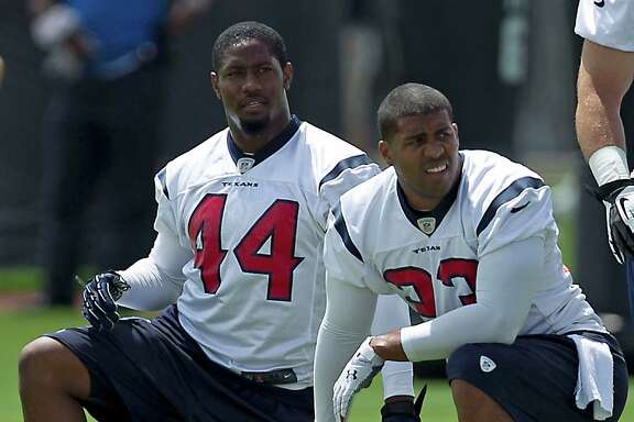 The Texans are relieved Ben Tate, left, will be healthy enough to play in Sunday's showdown with the Colts. Now they await the fate of their other key running back, Arian Foster, who's nursing a hamstring injury.