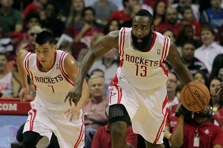 Rockets point guard Jeremy Lin left, and Rockets shooting guard James Harden. Photo: James Nielsen, Houston Chronicle