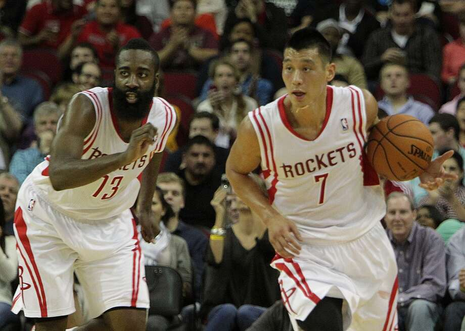 Rockets shooting guard James Harden left, and Rockets point guard Jeremy Lin. Photo: James Nielsen, Houston Chronicle
