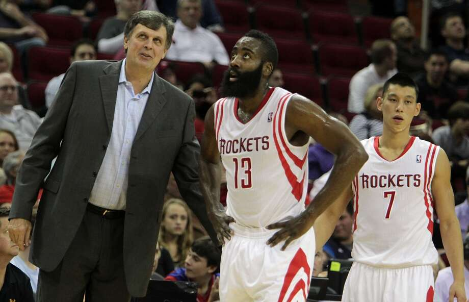Rockets head coach Kevin McHale left, Rockets shooting guard James Harden center, and Rockets point guard Jeremy Lin. Photo: James Nielsen, Houston Chronicle