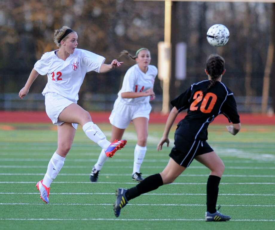 Niskayuna'a Kelly Hartlage kicks the ball during  a Section II girls' soccer semifinal against  Bethlehem on Friday, Nov. 1, 2013 in Schuylerville, N.Y.  (Lori Van Buren / Times Union) Photo: Lori Van Buren / 00024466A