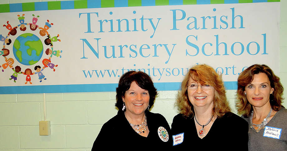 Meg Reilly, director of Trinity Parish Nursery School; Barbara Geddis, principle of Geddis Architects, and Melanie Andrews, Trinity's financial officer, at the Friday celebration of the storm-damaged school's reopening at the Southport church. Photo: Mike Lauterborn / Fairfield Citizen contributed