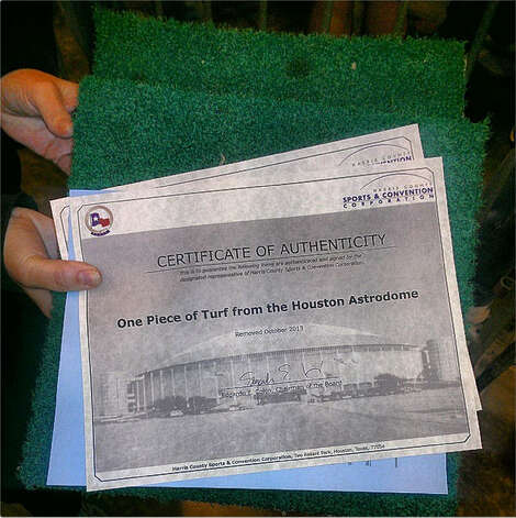 A piece of turf from the Astrodome was one of the many items on sale. (Craig Hlavaty / Houston Chronicle)