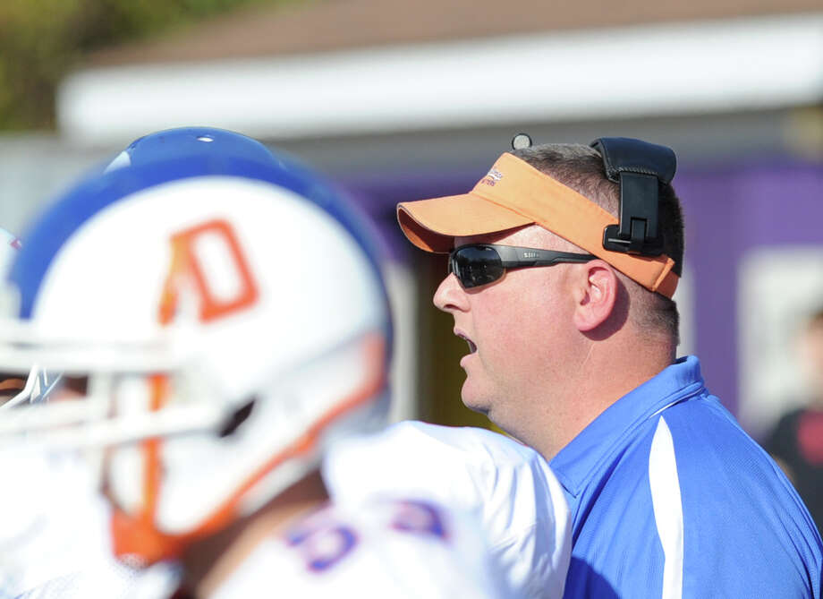 Danbury High school football coach Dan Donovan during the game between Westhill High School and Danbury High School at Westhill High School in Stamford, Saturday, Nov. 2, 2013. Photo: Bob Luckey / Greenwich Time