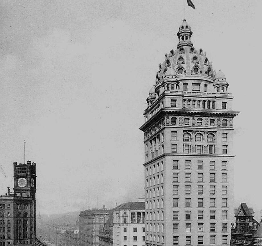 """The Call Building was built in 1898 and survived the 1906 earthquake, only to be remodeled in 1938 with all the cool stuff on top taken off  Credit must read """"Courtesy San Francisco History Center, San Francisco Public Library"""" Photo: See Notes"""