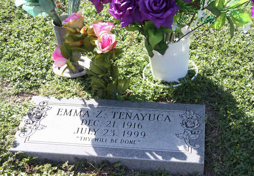 "Fiery labor leader Emma Tenayuca's grave site rests at Mission Park Cemetery on the city's South Side. The simple headstone states ""Thy will be done."" This week, three nieces and her sister-in-law visited her grave site and brought her flowers. Photo: Elaine Ayala, San Antonio Express-News"