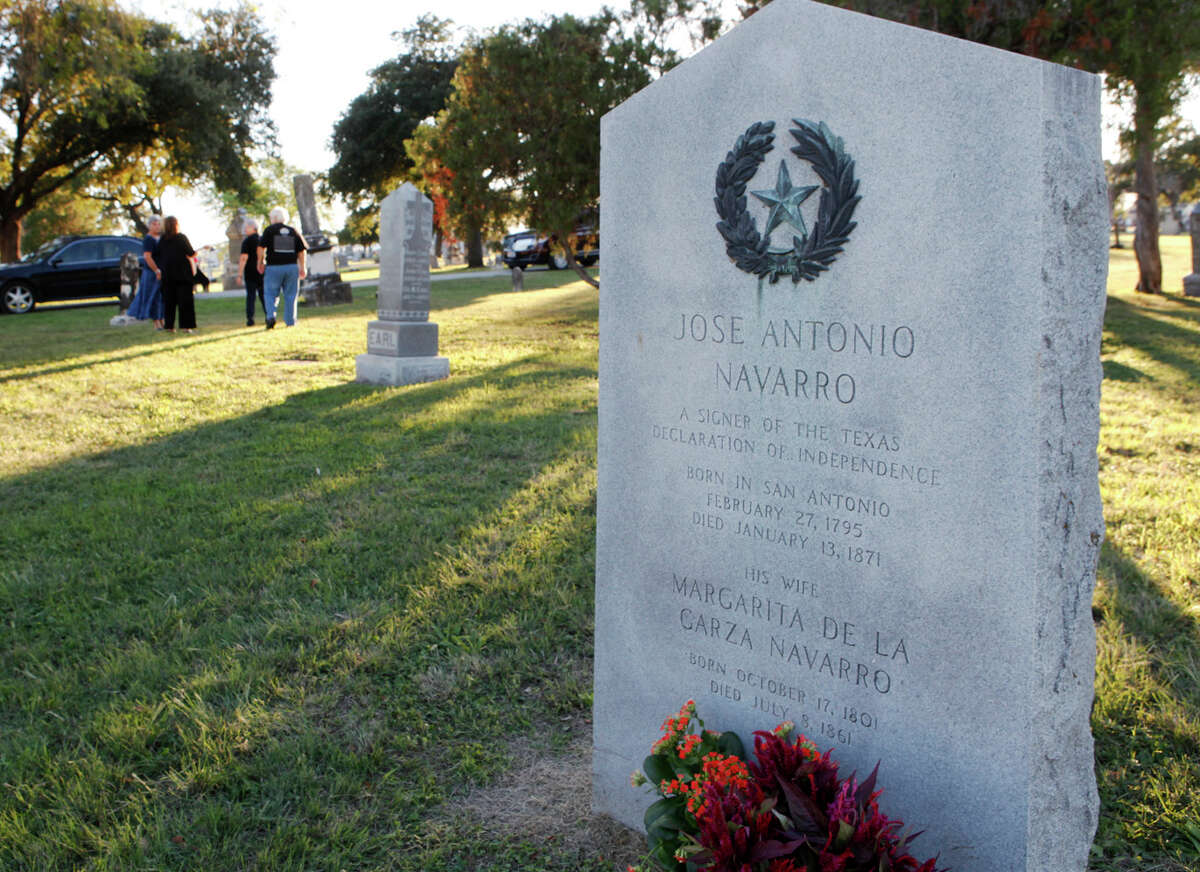 Jose Antonio Navarro's descendants leave Navarro's grave site on Nov. 1, 2013, at San Fernando Cemetery No. 1. Navarro was one of two native Texans who signed the Texas Declaration of Independence.