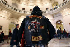 Steve Salas, a member of the Bandidos (cq) motorcycle group, stands in the Rotunda of the Texas state capitol building on Monday January 22, 2007.  Bikers were in Austin for biker legislation day and were hoping the get legislation passed that would be favorable to (motor) cycling enthusiasts. JOHN DAVENPORT / STAFF