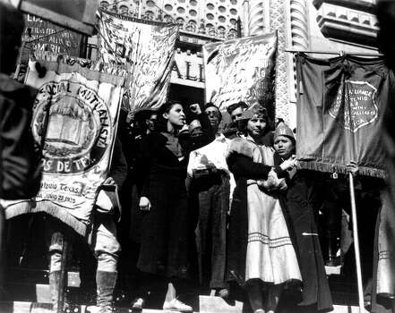 Emma Tenayuca is seen on the steps of City Hall in San Antonio in 1938 during the pecan shellers strike.