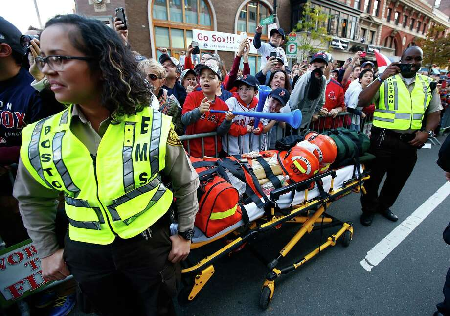 BOSTON, MA - NOVEMBER 02: A stretcher sits on Boylston Street during the World Series victory parade on November 2, 2013 in Boston, Massachusetts. Photo: Jared Wickerham, Getty Images / Getty Images