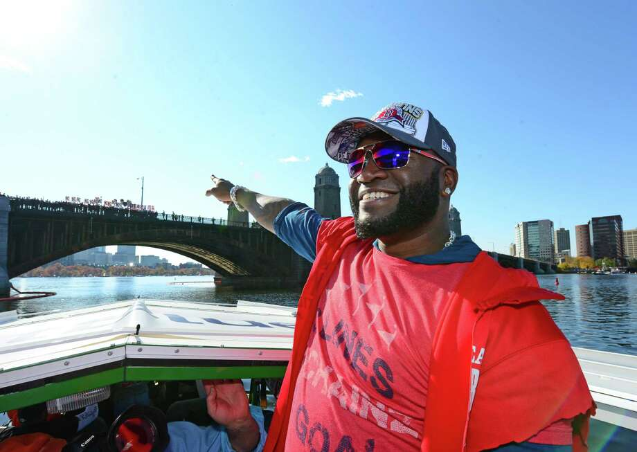 BOSTON, MA - NOVEMBER 2:  David Ortiz #34 of the Boston Red Sox reacts to a fans standing on the Longfellow Bridge during a victory parade on November 2, 2013 through Boston, Massachusetts. Photo: Michael Ivins/Boston Red Sox, Getty Images / Getty Images