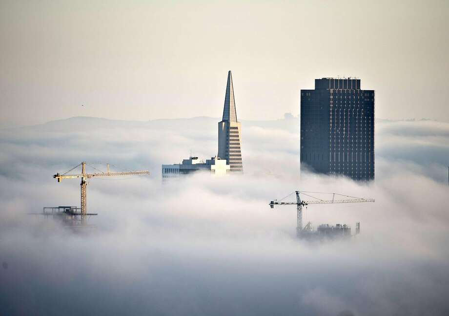 Construction cranes join the Transamerica Pyramid  and 555 California Street (R) jutting through the fog at sunrise in San Francisco on October 20, 2013. San Francisco is seeing a boom in new housing and commercial construction alter the skyline..  UPI/Terry Schmitt Photo: Terry Schmitt