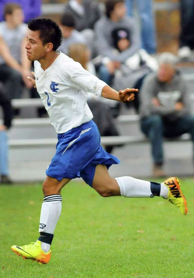 Ichabod Crane's Diego Lezama celebrates his second-half goal during their Section II Class B soccer championship game against Schalmont on Saturday, Nov. 2, 2013, at Colonie High in Colonie, N.Y. (Cindy Schultz / Times Union) Photo: Cindy Schultz / 00024490A