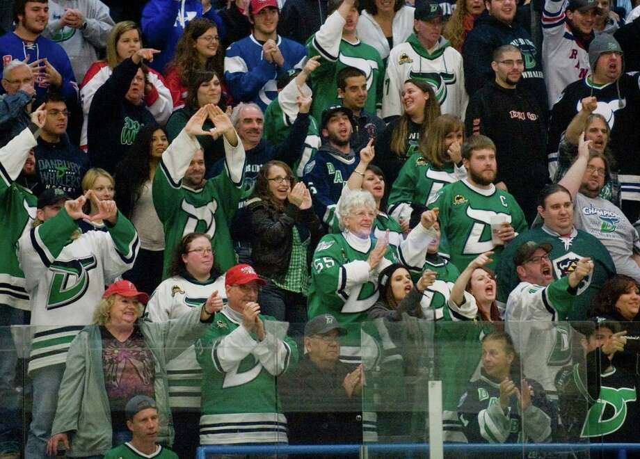 Danbury Whalers fans chanting to the enemy during a game against the Watertown Privateers at the Danbury Arena. Saturday, Nov. 2, 2013 Photo: Scott Mullin / The News-Times Freelance