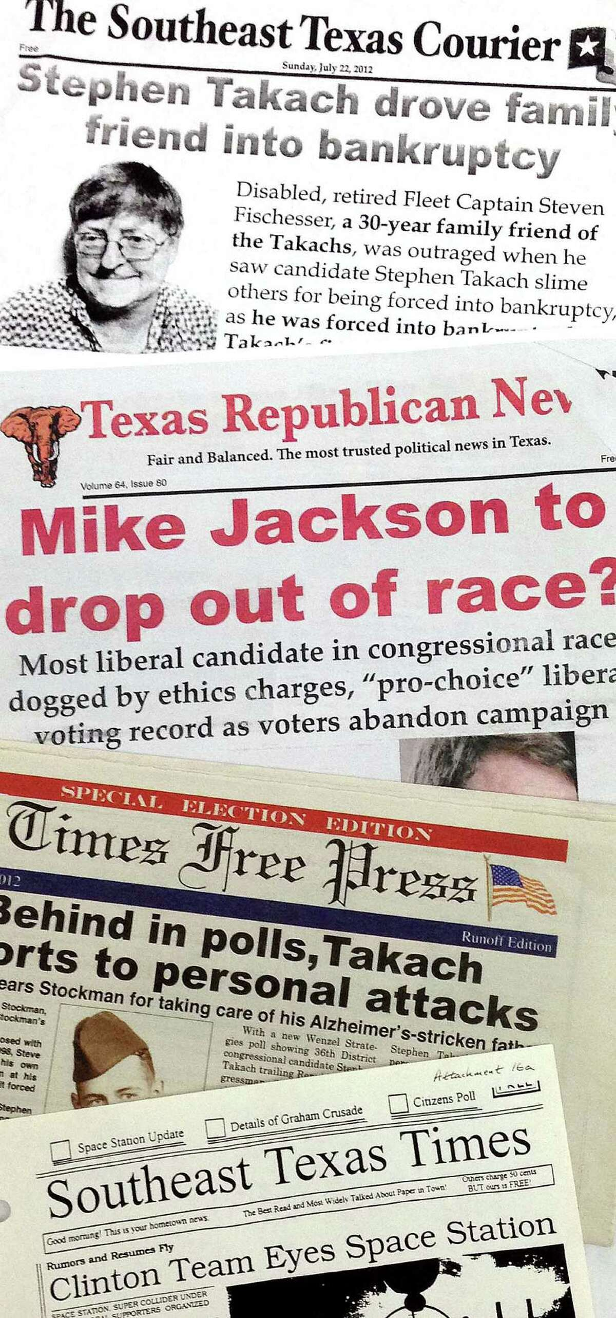 """The Stockman campaign sent out about 400,000 """"newspapers"""" in 2012. The newspapers distributed in 2012 were similar to one that was associated with the campaign in the 1990s called the Southeast Texas Times. A copy of the 1990s publication is at the bottom of this photo, samples of others from 2012 are pictured above."""