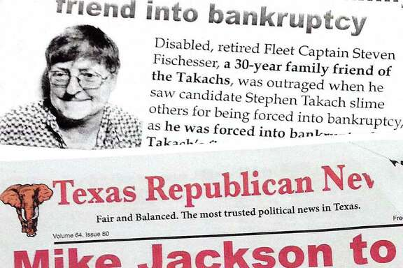 "Stockman's campaign distributed ""newspapers"" in 2012 that were not labeled as campaign materials. They were sent to some 400,000 Texas voters"